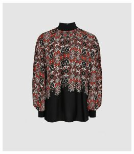 Reiss Maisie - Patchwork Printed Turtle Neck Top in Red, Womens, Size 16