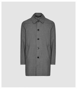 Reiss Caster - Mac With Removable Zip Neck Insert in Grey, Mens, Size XXL