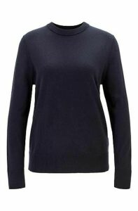 Crew-neck sweater in cotton with silk and cashmere