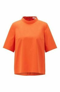 Regular-fit top in stretch twill with stand collar