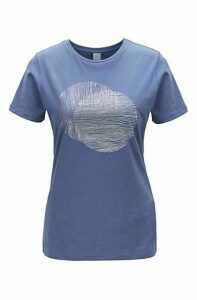 Crew-neck T-shirt in washed cotton with foil print