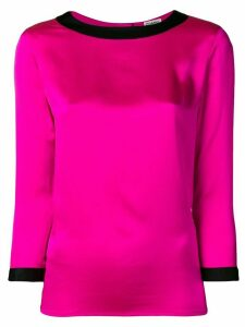 Chanel Pre-Owned 1990's contrast trim three-quarters blouse - PINK