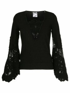Chanel Pre-Owned lace-embroidered flared top - Black