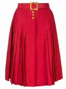 Chanel Pre-Owned Belted button pleated skirt - Red