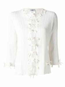 Chanel Pre-Owned bow trim cardigan - White