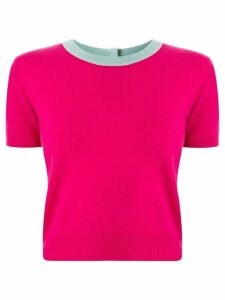 Chanel Pre-Owned contrast trim knitted top - PINK