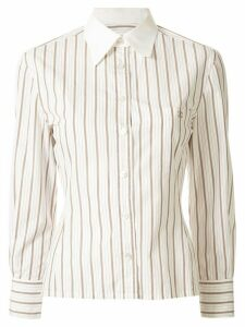 Chanel Pre-Owned striped slim-fit shirt - White