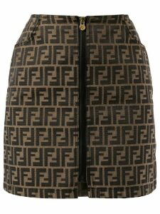 Fendi Pre-Owned Zucca pattern zipped skirt - Brown
