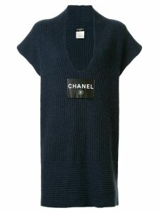 Chanel Pre-Owned logo patch knitted dress - Blue