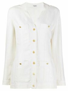 Chanel Pre-Owned 1980s V-neck jacket - White