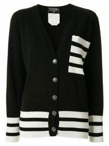Chanel Pre-Owned striped trim cardigan - Black
