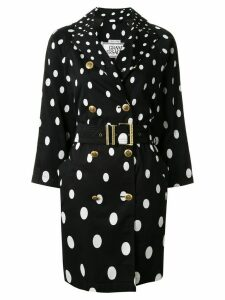Versace Pre-Owned polka dot trench coat - Black