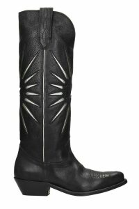 Golden Goose Wish Star Texan Boots In Black Leather