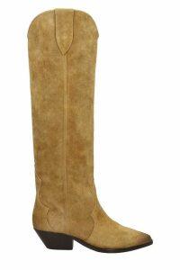 Isabel Marant Denvee Texan Boots In Beige Suede