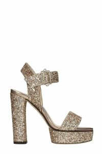 Jimmy Choo Maie Sandals In Gold Leather