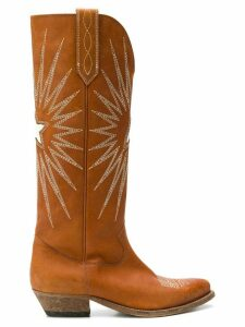 Golden Goose embroidered knee-length boots - Brown