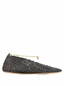 Stella McCartney glitter pointed toe ballerina shoes - Grey