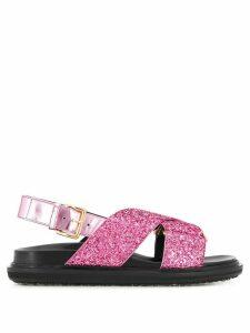 Marni glitter flat sandals - PINK