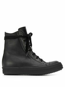 Rick Owens lace-up high top sneakers - Black