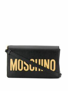 Moschino logo flap shoulder bag - Black