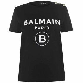 Balmain Balmain Logo Button T Shirt