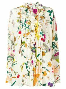 Gucci ruffle trim floral shirt - NEUTRALS