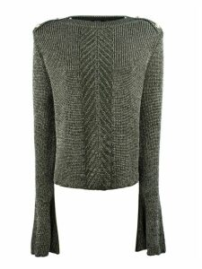 Balmain Olive Viscose And Lurex Sweater