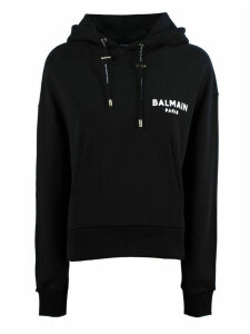 Balmain Short Black Cotton Sweatshirt