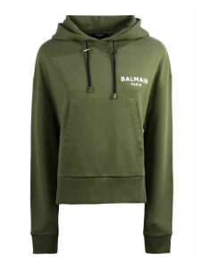 Balmain Short Olive Cotton Sweatshirt