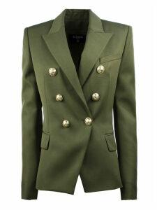 Balmain Green Double-breasted Wool Blazer