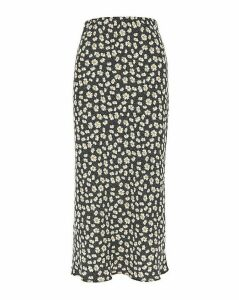 Floral Print Satin Column Maxi Skirt