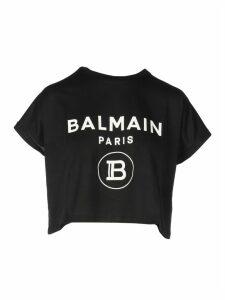 Balmain Cropped Ss Logo T-shirt