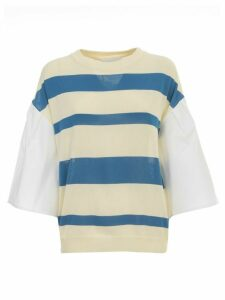 Erika Cavallini Alba Sweater W/popeline Sleeve And Stripes