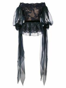 Marchesa off-shoulder lace top - Blue