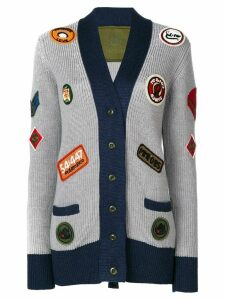 Mr & Mrs Italy multi-patch knitted coat - Grey