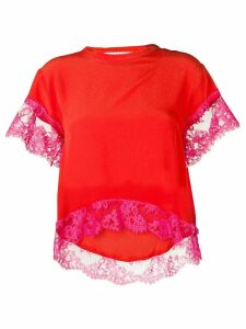 MSGM lace detail t-shirt - Red