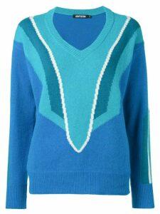 Adaptation patterned v-neck jumper - Blue