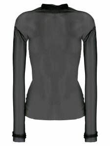 Parlor long-sleeved sheer top - Black