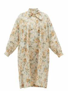 Ephemera - Tie-neck Floral-print Linen Dress - Womens - Yellow Multi