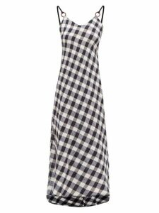 Belize - Carole V-neck Cotton-gingham Midi Dress - Womens - Navy White
