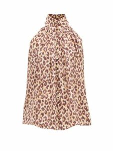 Zimmermann - Super Eight Leopard-print Silk Blouse - Womens - Leopard