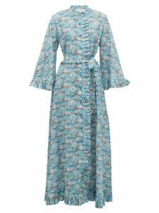 Evi Grintela - Marigold Ruffled Floral-print Cotton Dress - Womens - Blue Print