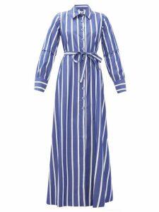 Evi Grintela - Forget Me Not Striped Cotton Shirtdress - Womens - Blue Stripe