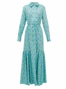 Evi Grintela - Rosalie Floral-print Cotton Shirtdress - Womens - Blue Print
