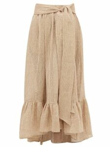 Lisa Marie Fernandez - Nicole Gathered-hem Linen-blend Gauze Maxi Skirt - Womens - Beige