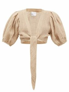 Lisa Marie Fernandez - Tie-front Puff-sleeve Linen-blend Gauze Blouse - Womens - Beige