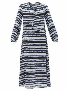 On The Island By Marios Schwab - Paloma Printed Silk Crepe-de-chine Dress - Womens - Blue Stripe