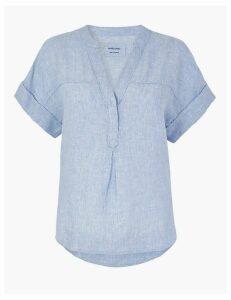 M&S Collection Pure Linen Popover Blouse
