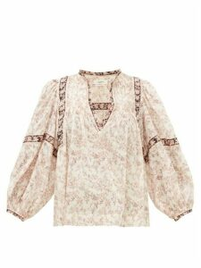 Isabel Marant Étoile - Violette Floral-print Cotton-voile Blouse - Womens - Ivory Multi