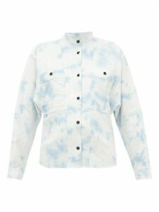Isabel Marant Étoile - Barney Mandarin-collar Cotton-blend Shirt - Womens - Blue White